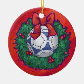 Festive Futbal in Wreath on Red Ceramic Ornament