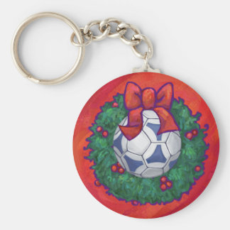 Festive Futbal in Wreath on Red Keychain