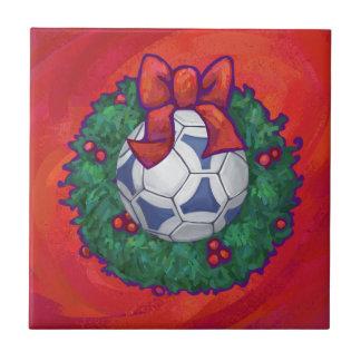 Festive Futbal in Wreath on Red Tile