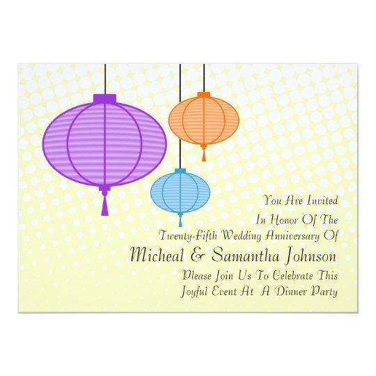 Festive Garden Paper Lanterns Anniversary Invitati Card