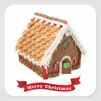Festive Gingerbread House Red Merry Christmas Square Sticker