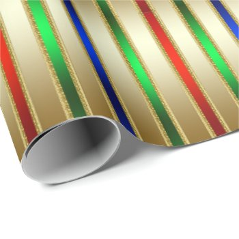 Festive Glam Stripes Red Blue Green Gold Wrapping Paper