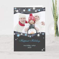 Festive Glittering Lights Christmas Family Photo