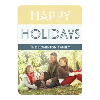 Festive Gold Blue Christmas Flat Card