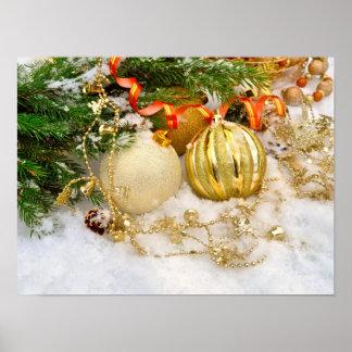 Festive Gold Christmas Bulbs Poster
