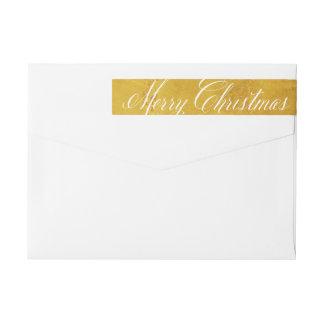 Festive Gold Christmas Skinny Wraparound Labels Wraparound Return Address Label