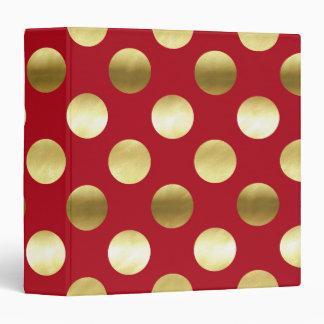 Festive Gold Foil Polka Dots Red Binder