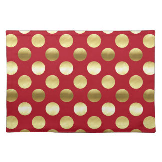 Festive Gold Foil Polka Dots Red Placemat