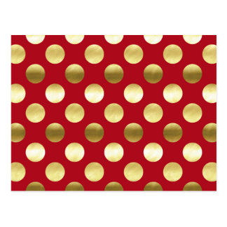 Festive Gold Foil Polka Dots Red Postcard