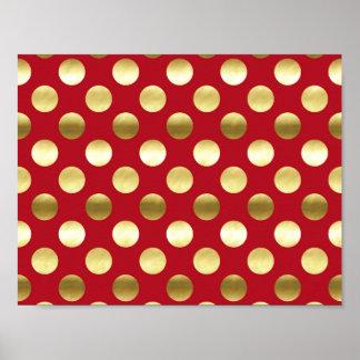 Festive Gold Foil Polka Dots Red Poster