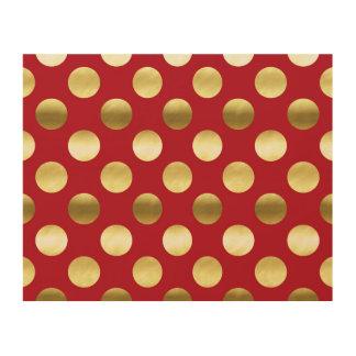 Festive Gold Foil Polka Dots Red Wood Print