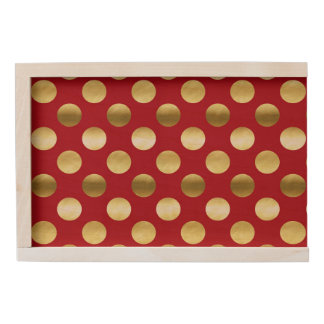 Festive Gold Foil Polka Dots Red Wooden Keepsake Box