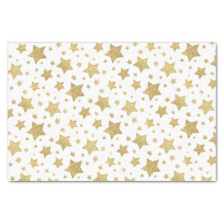 festive gold glitter celebration stars pattern tissue paper