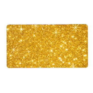 festive gold glitter label