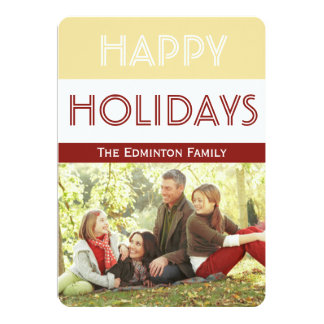 Festive Gold Red Christmas Flat Card