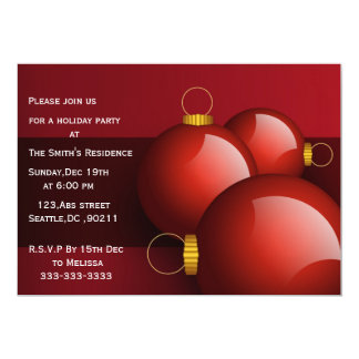 festive gold  red Holiday Party Invitations