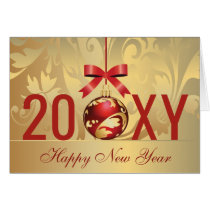 festive gold red new years Holiday Card