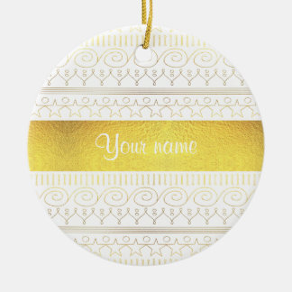 Festive Gold Swirls and Stars Ceramic Ornament