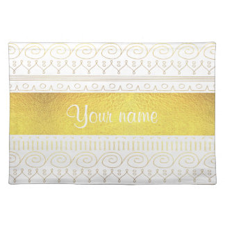 Festive Gold Swirls and Stars Placemat