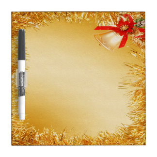Festive Gold Tinsel & Bell Dry Erase Board