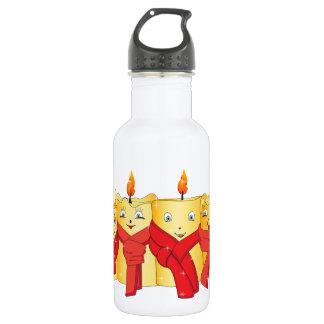 Festive Golden  Christmas candles Water Bottle