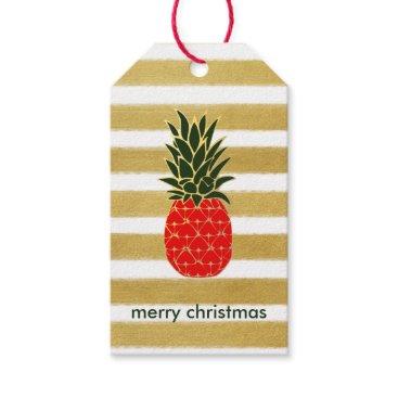 Christmas Themed Festive Golden Christmas Pineapple Gift Tags