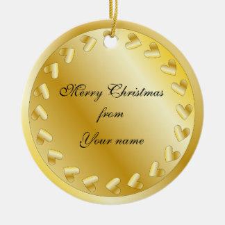 Festive golden heart design ceramic ornament