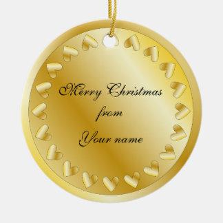 Festive golden heart design christmas tree ornaments
