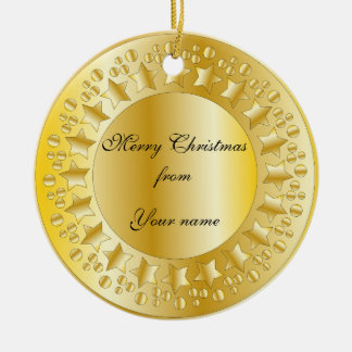 Festive golden stars and dots ceramic ornament