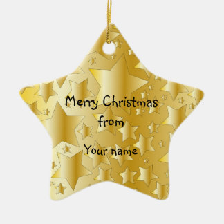 Festive golden stars ceramic ornament