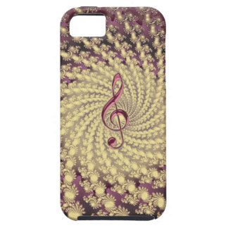 Festive Golden Swirl Fractal with Music Clef iPhone SE/5/5s Case