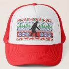 Festive Gone Squatchin Ugly Christmas Sweater Knit Trucker Hat