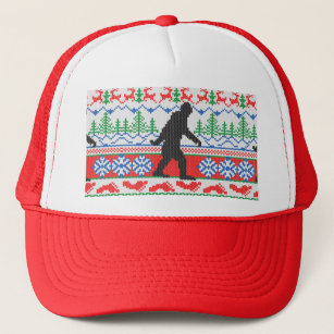 festive gone squatchin ugly christmas sweater knit trucker hat - Ugly Christmas Hats