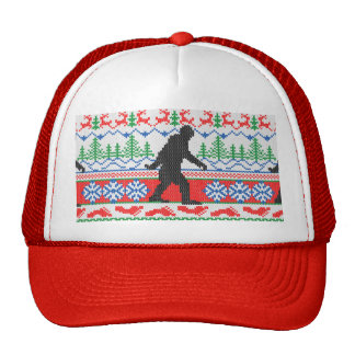 Festive Gone Squatchin Ugly Christmas Sweater Knit Trucker Hat