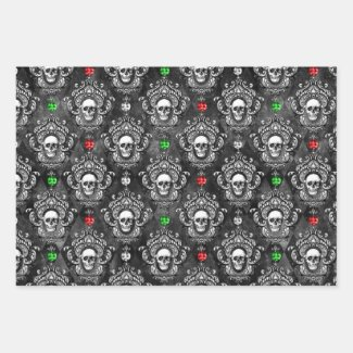 Festive Gothic Skull Christmas Wrapping Paper
