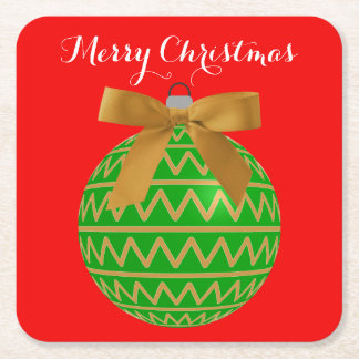 Festive Green Gold Merry Christmas Tree Bulb Bow Square Paper Coaster