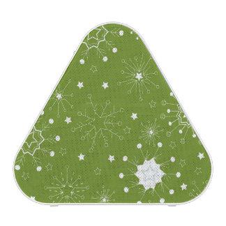 Festive Green Holiday Snowflakes Bluetooth Speaker