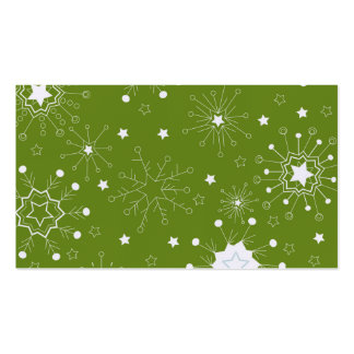 Festive Green Holiday Snowflakes Business Card