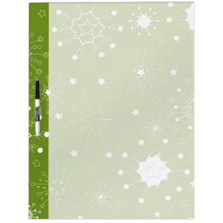 Festive Green Holiday Snowflakes Dry Erase Board