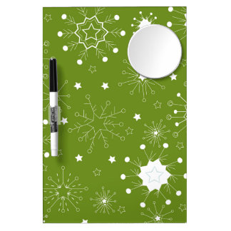 Festive Green Holiday Snowflakes Dry Erase Board With Mirror