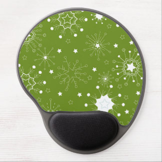 Festive Green Holiday Snowflakes Gel Mouse Pad