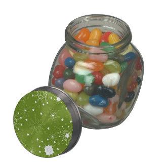 Festive Green Holiday Snowflakes Glass Jar