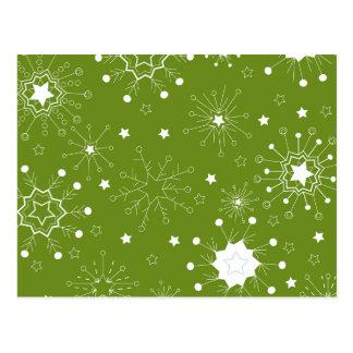 Festive Green Holiday Snowflakes Postcard