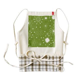 Festive Green Holiday Snowflakes Zazzle HEART Apron