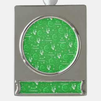 Festive Green Jolly Father Christmas Silver Plated Banner Ornament