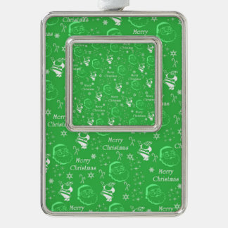 Festive Green Jolly Father Christmas Silver Plated Framed Ornament