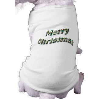 Festive Green Merry Christmas Text Doggie Tee