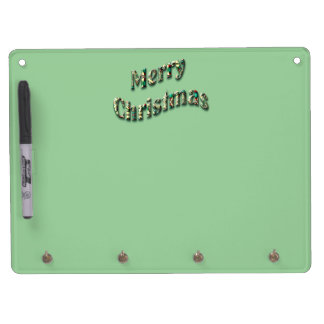 Festive Green Merry Christmas Text Dry Erase Board With Keychain Holder