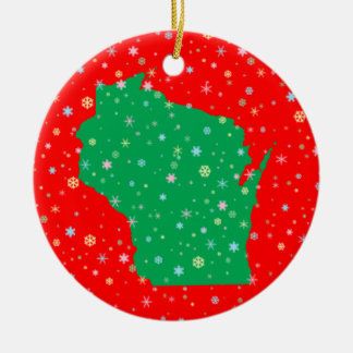 Festive Green on Red Map of Wisconsin Snowflakes Ceramic Ornament