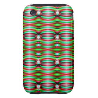 Festive Green Pattern Design iPhone 3 Tough Case